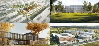 De gauche à droite et de haut en bas : le futur bâtiment de l'ENS Cachan, perspective ouest du futur bâtiment de l'Ensae ParisTechle, le futur Centre de physique matière et rayonnement - Université Paris-Sud/CNRS, le Campus EDF Paris-Saclay //©Renzo Piano Building Workshop (ENS Cachan), Brenac & Gonzalez (CPMR) CAB ARCHITECTES (Ensae), Francis Soler et ECDM (Campus EDF)