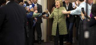 Hillary Clinton, ici en campagne pour les primaires démocrates au Meharry Medical College de Nashville (Tennessee), entend prendre des mesures pour limiter l'endettement des étudiants. //©DOUG MILLS/The New York Times-REDUX-REA