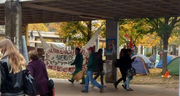 Le campement à l'université Toulouse Jean-Jaurès, le 25 novembre 2014