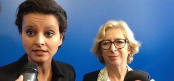 Najat Vallaud-Belkacem et Geneviève Fioraso à la conférence de presse de la rentrée universitaire, le 24 septembre 2014 // ©S. Blitman