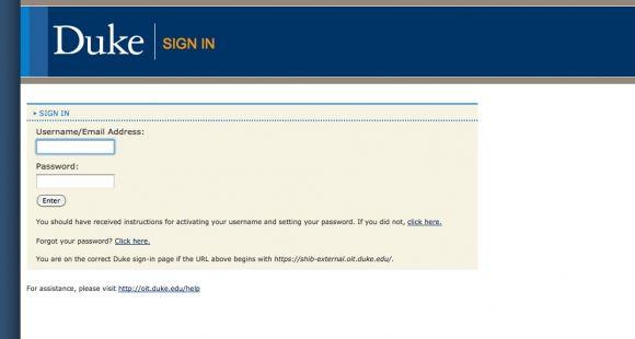 Capture d'écran de la fiche de contact de Duke University.