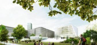 Installé dans le couloir piéton, le projet Paris-Parc Sorbonne relie la place de l'Institut du monde arabe au parc du campus de Jussieu (Paris 5e). //©Agence BIG
