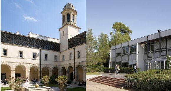 Les universités Montpellier 1 (à gauche, © Hugues Desmichelle) et Montpellier 2 (à droite, © UM2) doivent fusionner en  janvier 2015.