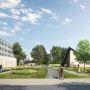 Sur le campus de Lyon Tech la Doua, le projet d'axe vert, dont la première tranche est achevée. © Dumetier Design