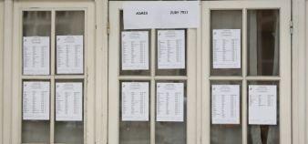 Listes de candidats admis au baccalauréat en 2014 dans un lycée de Paris //©Nicolas Tavernier / R.E.A