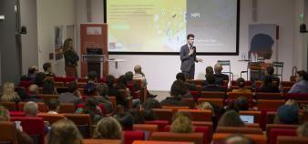 Intervention de Florian Cordel lors du EdJobTech Day organisé par l'EM Lyon le 29 novembre 2018. //©Erwan Lemarie pour Educpros