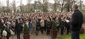 Université de Bordeaux - Rassemblement avant la minute de silence suite à l'attentat contre