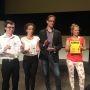 Les gagnants de la finale nationale 2015 de Ma thèse en 180 secondes. De gauche à droite : Alexandre Artaud, Rachida Brahim, Grégory Pacini et Camille Rouillon. //©Hélène Lesourd