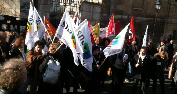 Manifestation devant le ministère - loi ESR - Cneser - 19/02/13 - ©Florian Reynaud