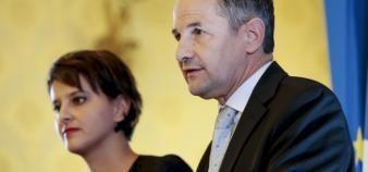 Najat Vallaud-Belkacem et Thierry Mandon restent dans le gouvernement. //©Romain Beurrier / R.E.A