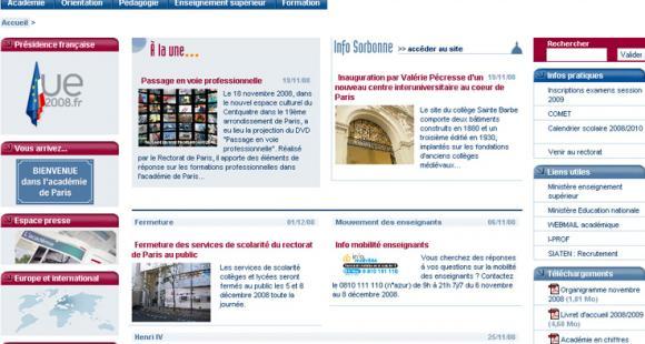Rectorat de Paris : une vitrine web dépoussiérée
