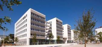 Le bâtiment de recherche Sud du nouveau campus Condorcet accueille des unités de recherche de plusieurs établissements. //©Vincent Bourdon/Campus Condorcet