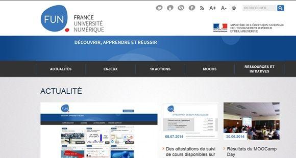 La plate-forme FUN (France université numérique) lancée par Geneviève Fioraso en octobre 2013.