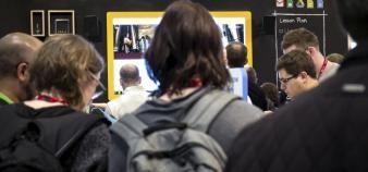 Une présentation de Google for Education au salon mondial des technologies éducatives Bett. //©Eric TSCHAEN/REA