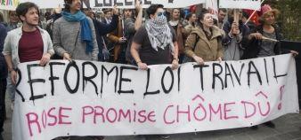 À Marseille, des lycéens et des étudiants manifestent contre le projet de loi El Khomri, le 31 mars 2016. //©Ian Hanning / R.E.A