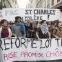 Manifestation de lycéens et d'étudiants contre le projet de loi El Khomri à Marseille le 31 mars 2016. //©Ian Hanning / R.E.A