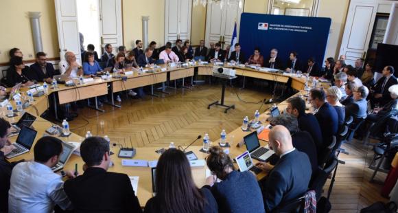 Frédérique Vidal, la ministre de l'Enseignement supérieur, préside la clôture de la concertation sur le contrat de réussite étudiant, jeudi 19 octobre 2017
