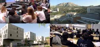 Ecoles de commerce : le palmarès 2014 de la recherche en gestion. De gauche à droite et de haut en bas : l'Ieseg, Kedge Marseille, l'Edhec et HEC.
