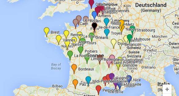 Carte de France - regroupements universitaires - juillet 2014