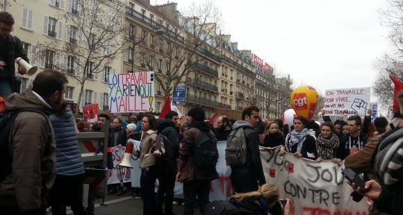 À Montparnasse, 3e journée de mobilisation de la jeunesse contre la loi Travail.
