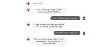 Prénommé Oli, le robot conversationnel créé par la start-up AdmitHub répond aux questions pratiques des étudiants. //©Capture d'écran