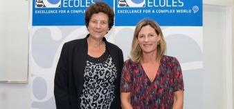 Frédérique Vidal, ministre de l'Enseignement supérieur, de la Recherche et de l'Innovation, et Anne-Lucie Wack, présidente de la CGE, au congrès de la Conférence à Lille, le 4 octobre 2018. //©CGE