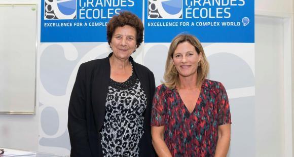 Frédérique Vidal, ministre de l'Enseignement supérieur, de la Recherche et de l'Innovation, et Anne-Lucie Wack, présidente de la CGE, au congrès de la Conférence à Lille, le 4 octobre 2018.