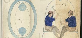 Parmi les trésors de l'École des ponts, on trouve par exemple un dessin rehaussé extrait du