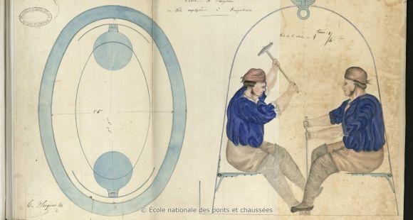 """Parmi les trésors de l'École des ponts, on trouve par exemple un dessin rehaussé extrait du """"Journal de la mission d'Angleterre et de Belgique en 1858"""", écrit par Louis Suquet en 1858."""