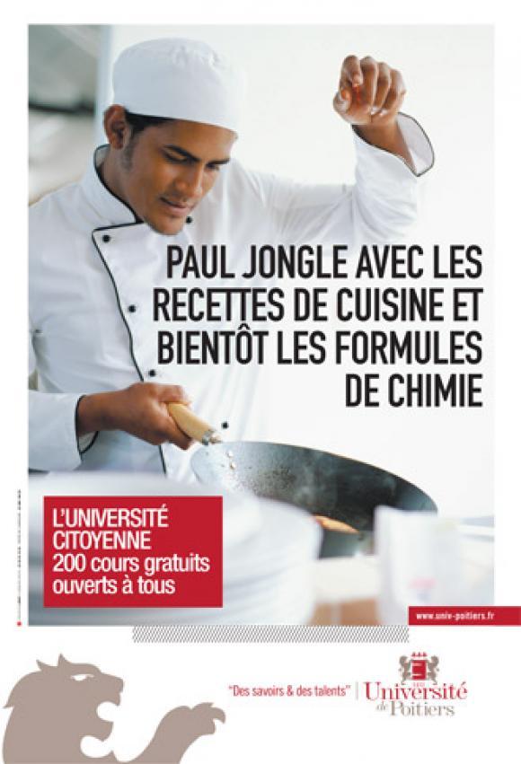 Campagne d'affichage de l'université de Poitiers pour promouvoir la formation tout au long de la vie grâce à des cours gratuits © Université Poitiers