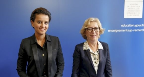 Najat Vallaud-Belkacem et Geneviève Fioraso - conférence de presse de la rentrée universitaire - 24 septembre 2014 // ©Nicolas TAVERNIER/REA