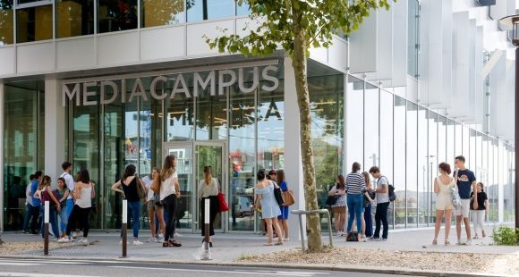 Inauguré le 8 septembre 2017, le Mediacampus accueille 450 étudiants. // © Audencia SciencesCom