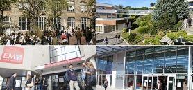 L'EM Lyon, l'ESCP Europe, l'EM Normandie et Néoma font partie des écoles dont les frais de scolarité ont le plus augmenté entre 2013 et 2015. //©PHILIPPE SCHULLER-EM LYON/ESCP Europe/Alexis Chézière- EM Normandie/Niko-NEOMA
