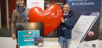 Luc Jarry-Lacombe et Alexis Berolatti, respectivement CEO et COO de BCDiploma lors du EdJobTech Day organisé par l'EM Lyon le 20 novembre 2018. //©Erwan Lemarie pour Educpros