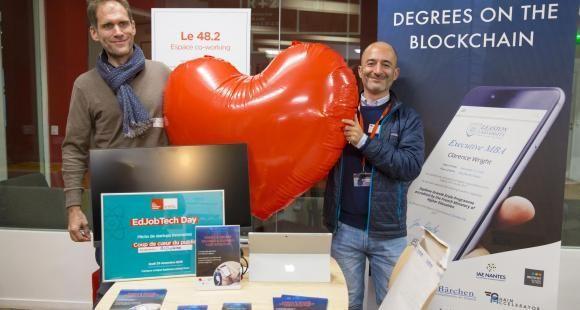 Luc Jarry-Lacombe et Alexis Berolatti, respectivement CEO et COO de BCDiploma lors du EdJobTech Day organisé par l'EM Lyon le 20 novembre 2018.