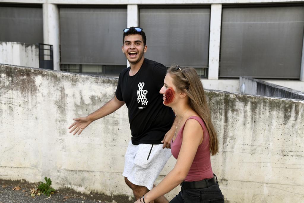 Pour guérir, les étudiants contaminés devaient retrouver des indices sur le campus de Lyon 1.  //©Université Lyon 1