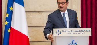 François Hollande, a défendu l'importance donnée à l'enseignement supérieur et à la recherche au sein des programmes d'investissement d'avenir. //©Gilles ROLLE/REA