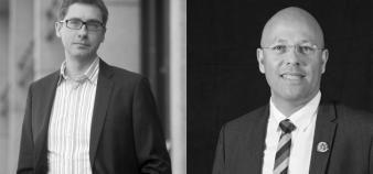 François Germinet (à gauche), VP de la commission formation de la CPU, et Rodolphe Dalle (à droite), président de l'Adiut, copilotent le groupe de travail sur la professionnalisation du premier cycle. //©J.-Y. Lacote_MG/Adiut