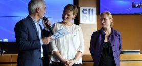 Le label DD&RS a été lancé le 14 octobre 2015 en présence de, de gauche à droite, Denis Guibard (CGE), Clara Doly-Tacconi (Cirses) et Céline Leroy (CPU). //©Delphine Dauvergne