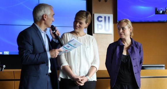 Lancement officiel du label DD & RS mercredi 14 octobre. De gauche à droite : Denis GUibard (CGE), Clara Doly-Tacconi (Cirses), Céline Leroy (CPU)