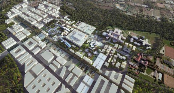 Campus Paris-Saclay, perspective aérienne du futur quartier Joliot-Curie