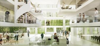 Le futur bâtiment de l'Institut des sciences moléculaires d'Orsay sur le plateau de Saclay qui devrait être livré en 2014.