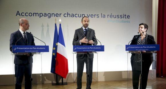 Jean-Michel Blanquer, Édouard Philippe et Frédérique Vidal présentent le plan étudiants, lundi 30 octobre 2017.