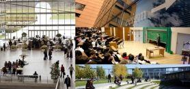 Écoles d'ingénieurs - Palmarès international 2014 - De gauche à droite et de haut en bas : École des Ponts ParisTech @ Hermine Cléret 50, EEIGM DR, Centrale Paris DR, UTT © UTT