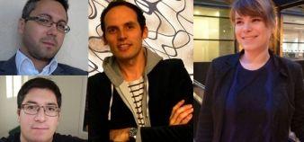 De gauche à droite et de haut en bas : les community managers Anthony Grolleau-Fricard (EIGSI La Rochelle), Camille Verron (université de Nantes), Sylvain Leauthier (université catholique de Lyon) et Julie Millot (EM Strasbourg)  // DR