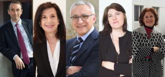 Les membres du bureau d'IAE France : de gauche à droite : Christian Defélix, Laurence Macaluso, Hervé Penan, Claire Salmon et Corinne Van Der Yeught. //©IAE France
