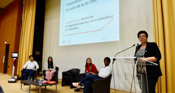 La ministre de l'Enseignement supérieur, Frédérique Vidal, a installé jeudi 21 juin 2018 le comité de suivi de la loi ORE.