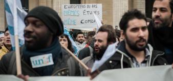 Déjà mobilisés en décembre 2018 à Paris, les syndicats étudiants défileront le 24 janvier 2019 aux côtés des syndicats lycéens, opposés à la réforme du lycée. //©Bruno Arbesu/REA