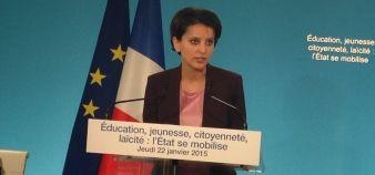 Najat Vallaud-Belkacem présente son plan pour l'école après les attentats du début d'année, le 22 janvier 2015 //©Isabelle Dautresme