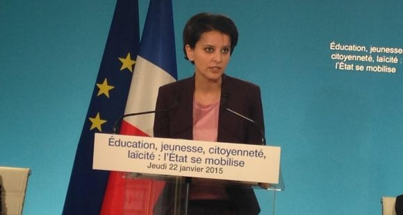 Najat Vallaud-Belkacem présente son plan pour l'école après les attentats du début d'année, le 22 janvier 2015
